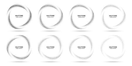 Halftone cirkel gestippeld frame circulair verdeelde set. Abstracte stippen logo embleem ontwerpelement. Ronde rand pictogram met behulp van halftone cirkel stip textuur. Halftoon cirkelvormig achtergrondpatroon. Vector.