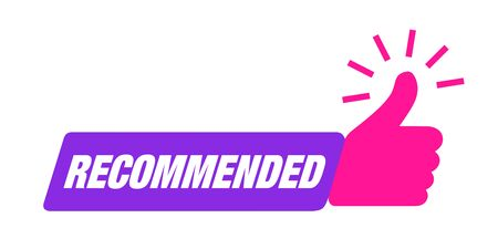 Recommend icon. Thumb up emblem. Pink purple color. Recommendation best seller sign. Good advice. Recommended sale label. Bestseller sticker. Vector illustration. Ilustrace