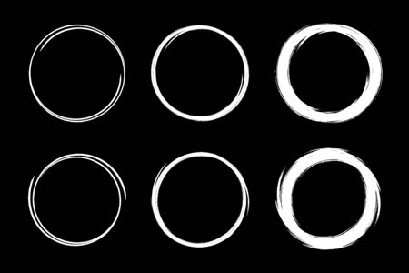 Hand drawn circles sketch frame set. Scribble line circle. Doodle circular Round logo design elements drawn by brush. Vector abstract art collection. Illustration
