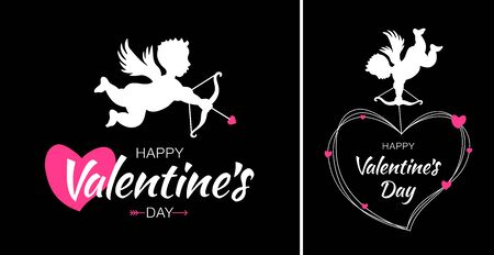 Valentines Day card design set. Cupid silhouette with bow and arrow and red heart on black background. White flying Angel. Amur symbol of love for Valentines Day. Wedding invitation card. Vector.