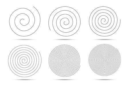 Éléments de conception de logo en spirale. Illustration vectorielle. Ensemble de spirales. Logo