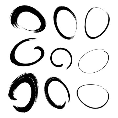 Hand drawn watercolor circle brush stroke set. Grunge chalk scribble ellipse and circle design elements for banner, insignia , Icon and badge. Brush circular freehand line smears. Vector doodle.