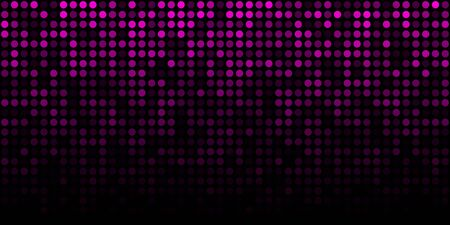 Purple technology horizontal luminous background. Gradient pink digital glow pixel circle texture pattern. Vector Ilustração