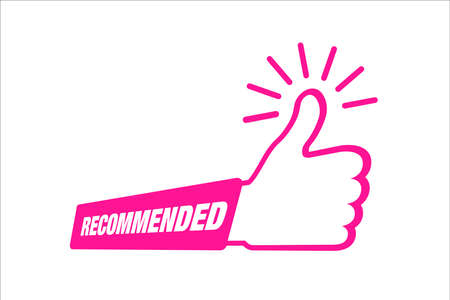 Recommend icon. Thumb up emblem. Pink purple color. Recommendation best seller sign. Good advice. Recommended sale label. Bestseller sticker. Vector illustration. Illusztráció