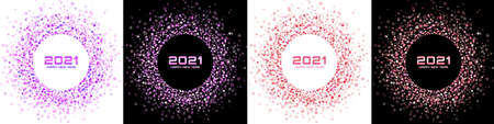 New Year 2021 night background party set. Greeting cards. Colorful glitter paper confetti border. Glistening bright festive lights. Glowing circle frame. Happy new year. Christmas frame. Vector