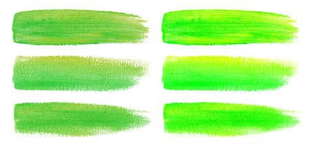 Green watercolor brush strokes. Canvas texture. Paint brush. Acrylic smear set. Vector illustration