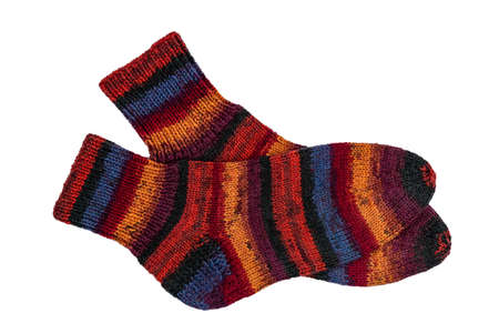 Colorful knitted socks isolated on a white background