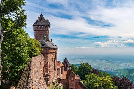 Hohkoenigburg in Alsace with a bird's eye view of the Rhine plain