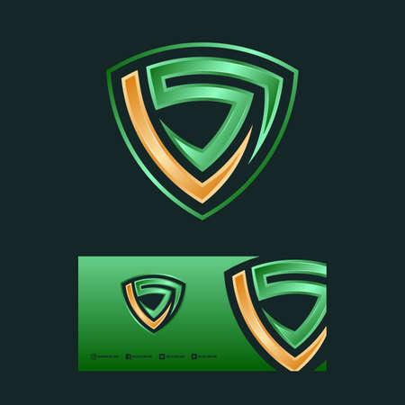 LS letter & shield logo design concept illustration. Logó