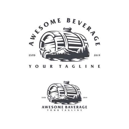 beverage mountain logo design concept illustration.