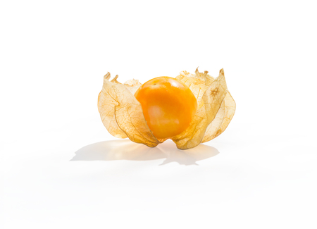 Close-up fresh pichuberry (Cape Gooseberry), very delicious and healthy berry fruit, uchuva isolated on white background with shadow and copy space for text or wording decoration