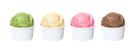Ice cream scoops in white cups of chocolate, strawberry, vanilla and green tea flavours isolated on white background (clipping path included)