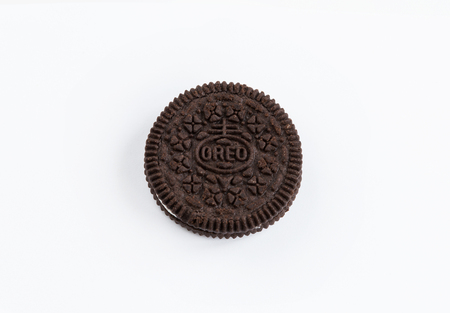 Oreo cookie snack on white background