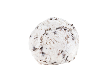 Cookies and cream ice cream scoop isolated on white background (clipping path included), close-up shot