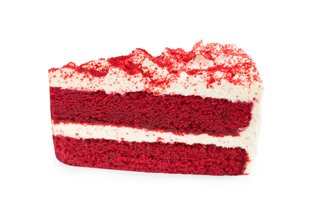 Red Velvet Cake sliced in piece isolated on white background (Clipping Path included), close-up shot (big cake) for Xmas season, new year, Valentines day or special holidays celebration
