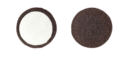 Cookies and cream close-up shot of inner side of milk cream filling and crusts (no trademark or brand) isolated on white background (Clipping path included) Фото со стока - 87690611