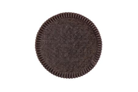 쿠키 및 흰색 배경 (클리핑 경로 포함)에 격리하는 전면 빵 껍 껍고 측면 (상표 또는 브랜드)의 크림 총 근접 그래픽 사용 스톡 콘텐츠