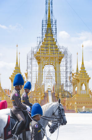 BANGKOK, Thailand - October 15, 2017: Three procession rehearsals for the Royal Cremation of His Majesty the late King Bhumibol Adulyadej (King Rama IX) at Sanamluang close to the Grand Palace and the Emerald Buddha Temple