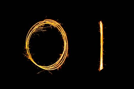Sparkler light drawn in number 0 and 1 at night time to celebrate special holiday occasion, xmas party,diwali, independent day or new year 2018