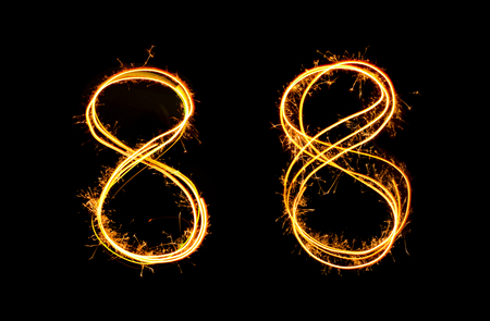 Sparkler light drawn in number 8 at night time to celebrate special holiday occasion, diwali, independent day, xmas party or new year 2018