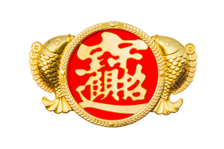 Chinese New Year couple fish of decorative golden elements with good luck and wealthy word in Chinese word to celebrate special occasion in China isolated on white background (Clipping path included) Stock Photo