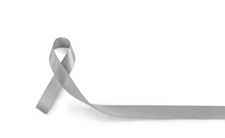 Parkinsons disease awareness or brain cancer grey or silver ribbon isolate on white background (Clipping path included) with copy space for text, logo, wordings decoration or insertion, health concept