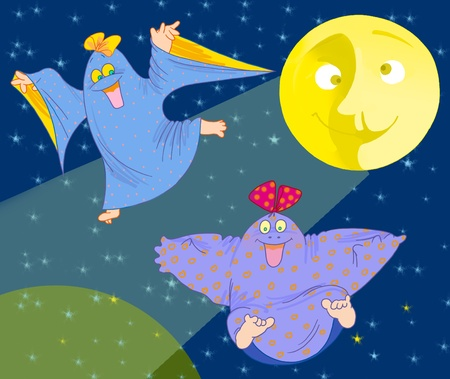 two  funny ghosts and big yellow Moon Stock Photo