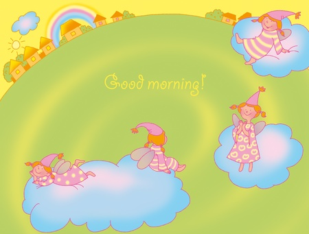 good-morning card with fairies