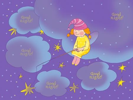 good night card with  fairy