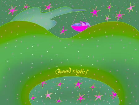 good night card with  bird
