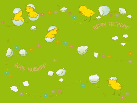 birthday card with chickens