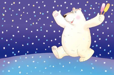 fat boreal bear with ice cream