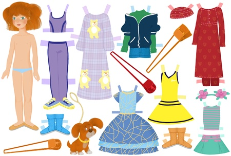 paper doll named Katie and summer clothes for her Stock Photo