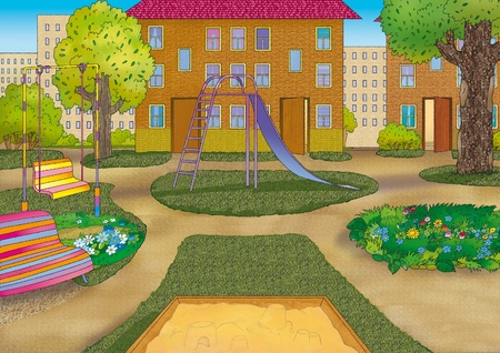 beautiful urban courtyard with playground