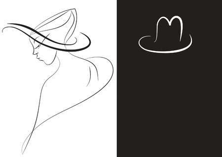 stylized black and white image of a girls in a hats Illustration