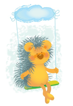 hedgehog riding on a swing Vector