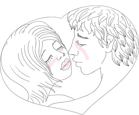 Young man and woman kissing Illustration