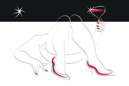 pastiche: reclining woman with a glass of wine in hand