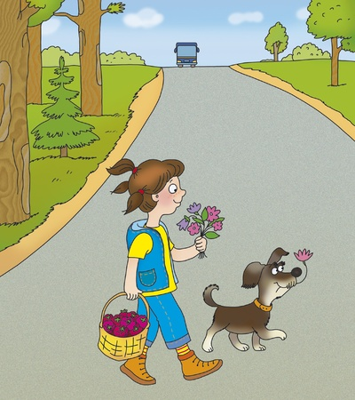 girl and a dog cross the road correctly Stock Photo