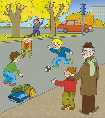 Il nonno spiega al nipote quanto sia pericoloso giocare on the road