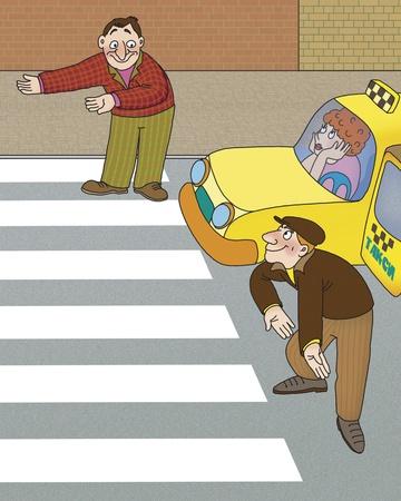 senda peatonal: conductor y el peat�n no est� seguro de qui�n deber�a ir primero