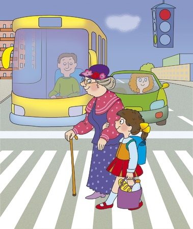 drawing safety: girl helps her grandmother cross the street on a green traffic light