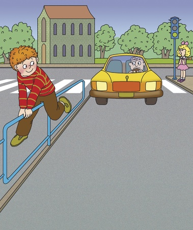 traffic rules: boy climbed over the fence, breaking the rules of the road Stock Photo