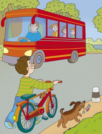 boy with a bicycle and a dog are on the road photo
