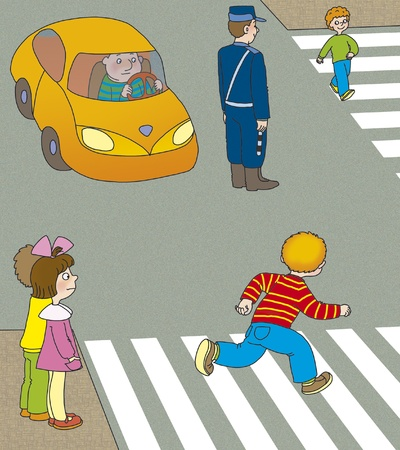 drawing safety: boy runs across the road at a pedestrian crossing in front of the machine Stock Photo