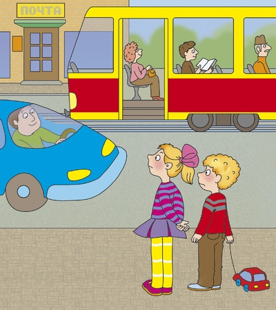 think safety: boy and a girl think if you can go to the tram in front of the car