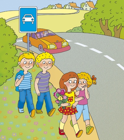 children are on the roadside photo
