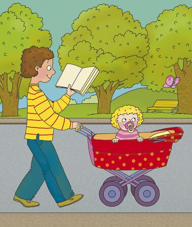 drawing safety: boy walking with a little sister, and reading a book, correct