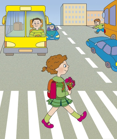 traffic rules: girl goes across the road