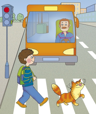 cross road: a boy and a cat cross the road at a green light